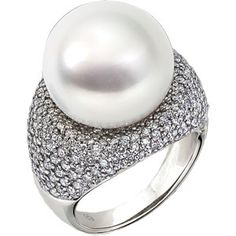 Paspaley Statement Exceptional Quality 16mm Full Button South Sea Pearl & Diamond Ring 18K White Gold