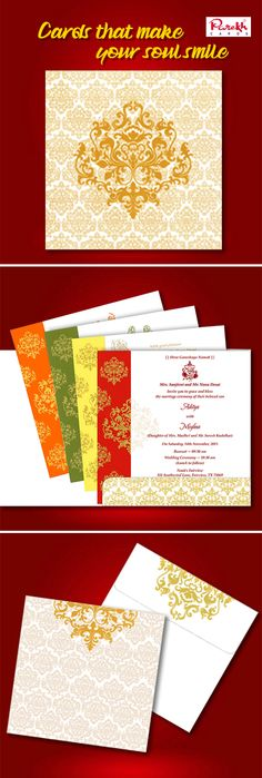 Choose what will reflect the tradition and values of a Hindu wedding and contemplate on how it will bring joy on the faces of your loved ones, turning their smiles into heartful blessing on your special day.   This Wedding card for Hindu weddings is made from high-quality card paper with a unique captivating style and design theme. Beautiful design done in raised gold prints an astonishing effect.