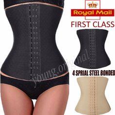 Womens-Sport-Waist-Trainer-Cincher-Steel-Boned-Corset-Body-Shaper-Shapewear-UK