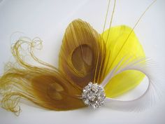 Items similar to Wedding Bridal White Mustard Yellow Peacock Feather Rhinestone Jewel Head Piece Hair Clip Fascinator on Etsy Feathered Hairstyles, Peacock Feathers, Bridal Headpieces, Hair Comb, Mustard Yellow, Hair Pieces, Fascinator, Wedding Jewelry, Hair Clips