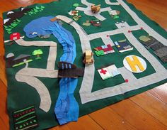 Children's Felt Play Mat for cars, boats, and planes -- Ready to Ship. $60.00, via Etsy.