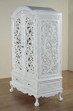 White carved armoire - french style