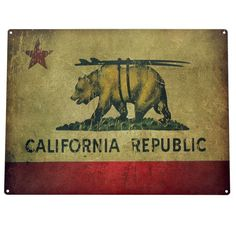 California Republic Surf Bear State Flag Vintage Metal Sign