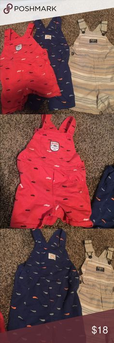 Toddler boys overall lot Orange are 12mo - carters brand       Blue are 18mo also carters brand and khaki striped are 18mo osh kosh brand. All gently used. Have snaps for easy changes. Osh Kosh One Pieces
