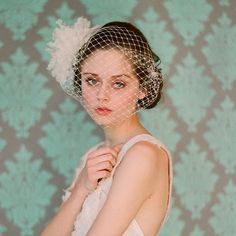 Bridal birdcage veil - French bandeau veil with silk organza flower bomb - Style 106 - Made to Order. $160.00, via Etsy.
