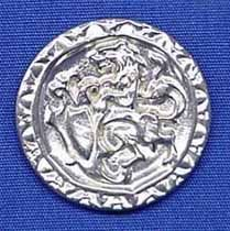 """Rampant Lion - Early Victorian English or Scottish Coat Button - (L-1 1/4"""", Item # B-0080L-RT), ($6.50 per card of 6 buttons) - Three Feathers Pewter 12 East Jackson Street Millersburg, Ohio 44654-1214, Phone 330-674-0404"""