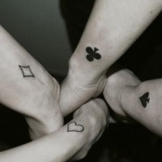 Like this idea for friendship tattoos and theres 4!! @Anna Totten Riddlehoover @Yazmin Wickham Flores