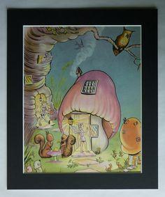 1950s Vintage Toadstool House Print Pookie by PrimrosePrints