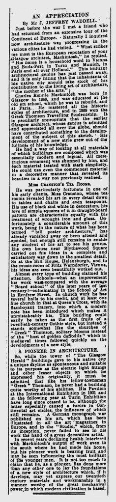 Tribute to Charles Rennie Mackintosh by Mr. J. Jeffrey Waddell from Glasgow Herald 15th December 1928