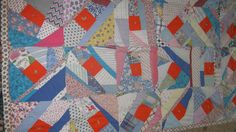 "CHARMING HANDMADE COLORFUL CRAZY PATCHWORK QUILT VINTAGE 37""X57"" CHILDS / THROW"