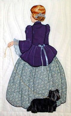 """#7 """"Bonnet Girl Relatives & Friends""""  Donella $6.50.  Donella is holding the leash of  her terrier who is behind her skirt and appliqué lace ribbon trimmed jacket."""