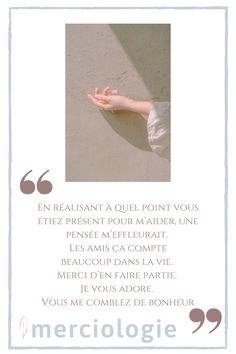 Gratitude envers ses amis Gratitude, Je T'adore, Words, Thank You Letter, Letter Templates, Amigos, Thanks, Horse