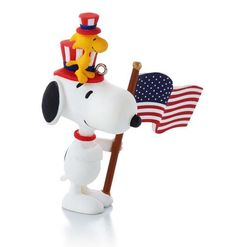 """""""Patriotic Pals"""" Snoopy and Woodstock, #12 in the Happiness is Peanuts Every Month of the Year Series Hallmark Ornament, 2014"""