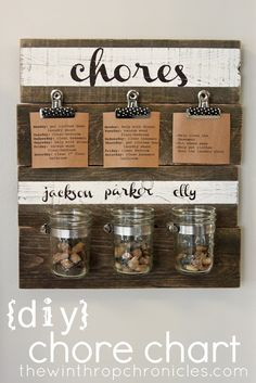Pinning simply b/c this is an adorable chores sign... Don't like the pebble idea