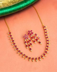 Ruby Necklace Designs, Jewelry Design Earrings, Gold Jewellery, Ruby Jewelry, Bridal Jewellery, Marriage Jewellery, Jewelry Necklaces, Opal Earrings, Jewellery Designs