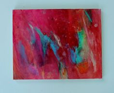 """Abstract Painting Expressionist Canvas Red """"Move"""""""