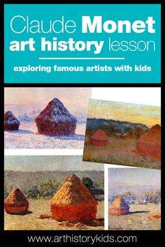 Monet project for kids. Introduce your kids to Impressionist art and Monet's Haystacks. Explore Art History at home with your kids through fun hands-on projects, games, and book recommendations. Great for a homeschool Art History Unit. Art Books For Kids, Art Activities For Kids, Art For Kids, Kid Art, History Lessons For Kids, Art Lessons, Importance Of Art, Summer Art Projects, Impressionist Art