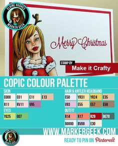 A clean and simple Christmas card featuring a Copic coloured digital stamp from Make it Crafty. Post includes marker colour palette, video & other info!