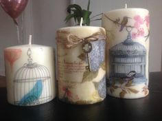 birdcage, decoupage candles, beautiful candles, home decor, unique, gift, custom order candles, floral candle, St Valentine's Day gift,birds by MaryWarmth on Etsy