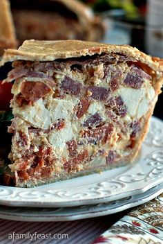 Italian Easter Pie - Dozens of versions of this traditional dish enjoyed to break Lent exist, most with it's origin going back hundreds of years.  This one is full of eggs, cheeses, and Italian cold cuts.