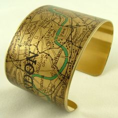 Vintage London Map with the River Thames Brass Cuff Bracelet - Map Jewelry - London Olympics 2012. $40.00, via Etsy.