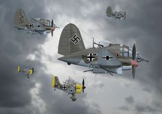 Heinkels and Junkers head for targets in England launching the Battle of Britain.