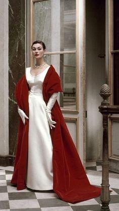 Balenciaga for Vogue, 1952. Photo: Frances McLaughlin-Gill--Lush dramatic colors and fabrics= dream gown and wrap!