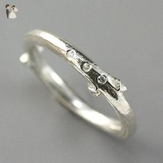 Sterling Silver Organic Ring with Flush Set Stones - Lilac Ring with Tiny Diamonds - Wedding and engagement rings (*Amazon Partner-Link)