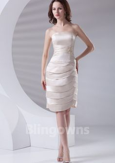Strapless Taffeta Tiered Zipper Sleeveless Knee Length A-line Mother Of The Bride Dresses