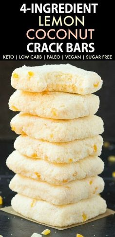 Extra Off Coupon So Cheap No Bake Lemon Coconut Crack Bars (Paleo Vegan Keto Sugar Free Gluten Free)-An Easy healthy and seriously addictive lemon coconut bars recipe using just 4 ingredients and needing 5 minutes! A delicious ketogenic dessert or snack! Sugar Free Desserts, Low Carb Desserts, Gluten Free Desserts, Low Carb Recipes, Dessert Recipes, Diet Recipes, Sugar Free Foods, Gluten Free Meals, Sugar Free Snacks
