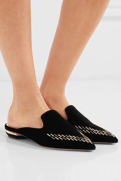 Nicholas Kirkwood - Beya Embellished Velvet Slippers - Black - IT37.5