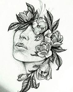 Dotwork - forever blackwork art sketches, tattoo drawings, a Pencil Art Drawings, Art Drawings Sketches, Cute Drawings, Tattoo Drawings, Tattoo Art, Tattoo Sketches, Tattoo Portrait, Blackwork, Girl Face Drawing