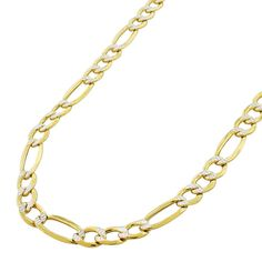 International 14k Gold Hollow Figaro Diamond-cut Pave Necklace