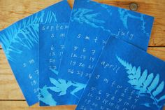 cyanotype calendar by kelly wilkinson