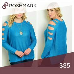 Adorable Turquoise Sweater Fabric: 100% Acrylic   Plus size long sleeve shoulder cut out knit top. Sweaters