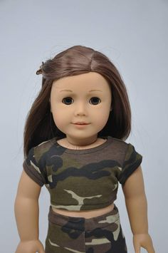 Camo Camouflage Short Sleeve Crop Top 18 Inch Doll Clothes