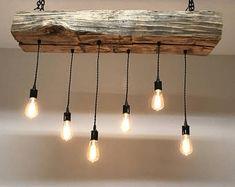 "42"" Reclaimed Barn Sleeper Beam Wood Light Fixture with LED Edison bulbs Rustic Industrial Farmhouse Chandelier Lighting"