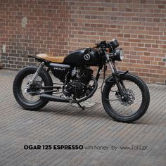 Ogar 125 ccm Espresso with honey colour seat and grips - cafe racer by Unikat Motorworks. www.1of1.pl