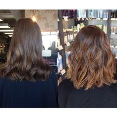 Before & after caramel balayage highlights and waves :: RedBloom Salon