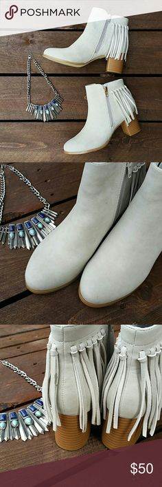 Tribal fringe light gray BOOTIES NWOT | VERY CUTE BOOT FOR THE FALL!!! | Tribal feel for skinny jeans or leggings | made in China | suede feel | zippers on both sides for easy on and off | easy to clean | new never been worn Journee Collection Shoes Ankle Boots & Booties