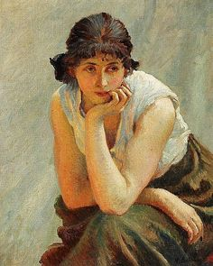 In deep thought by Vlaho Bukovac (Croatian 1855 - 1922)