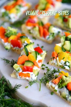 41 Quick last minute party food. Veggie Crescent Bites are a delightfully light appetizer that everyone will enjoy! Full of flavor and crunch - these little bites are sure to please! // Mom On Timeout