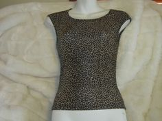 Charlotte Russe Leopard Silky Stretch Top Shell Woman's Small #CharlotteRusse #pullover #Casual