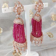 Jhumki Earrings, Dangle Earrings, Dangles, Rose Gold, Beads, Outfit, Silver, Inspiration, Wedding