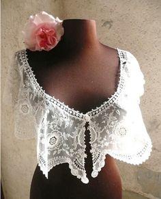 Antique French Lace Romantic Bertha Collar Circa 1870