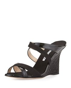 Varchi Patent Leather and Linen Crisscross Wedge Sandal, Black by Manolo Blahnik at Neiman Marcus.