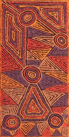 "mccullochandmcculloch: "" Pauline Napangardi Gallagher Mina Mina Jukurrpa (Mina Mina Dreaming) - Ngalyipi Warlukurlangu Artists For more Aboriginal art follow McCullochandMcCulloch """