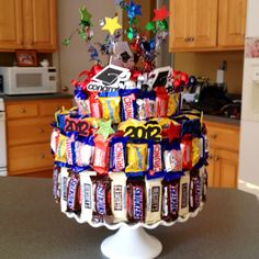 Candy bar cake for graduation
