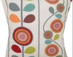 Items similar to Designer Orla Florla style kiely pop scandinavian red green blue vintage retro cushion cover on Etsy
