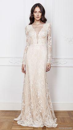 DIVINE ATELIER 2016 #bridal gowns lace sheer long sleeves deep plunging v neck fully embellished vintage lace sheath #wedding dress open back detachable panel train (calia) mv